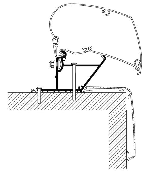 Dach-Montage-Adapter für Reisemobile und Wohnwagen, Rapido