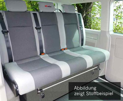 Schlafsitzbank VW T6/T5 V3000 Gr.17, 1380 mm breit, 3-sitzig, Rückbank T5 & T6