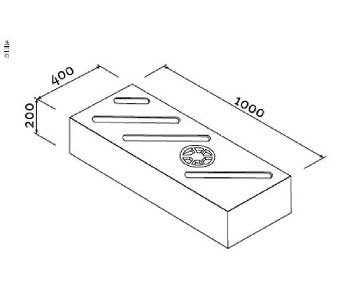 Lily universal tank naturlig, 78L, H200xB1000xL400mm