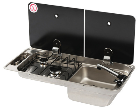 sink cooker combination campervan 716x150mm, sink on the right,2-piece cover