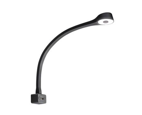 LED svanhalslampa runt huvud svart, silikonbelagd