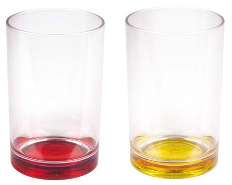 Plastic glazen 350ml, 2 stuks - geel/rood (bodem)