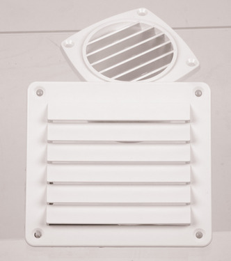 Ventilation grille, white, 142x80mm, angular, incl. screws