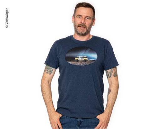 T-Shirt Herren VW, Größe L, blau-melage, 100% Baumwolle