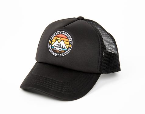 Cap LIFE IS A JOURNEY, black, unisex, trucker cap