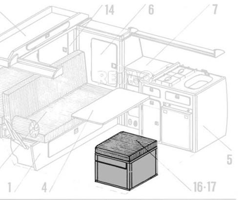 VW T3 Seitensitz für E-Heizung Granitto Schichtstoff als Bausatz