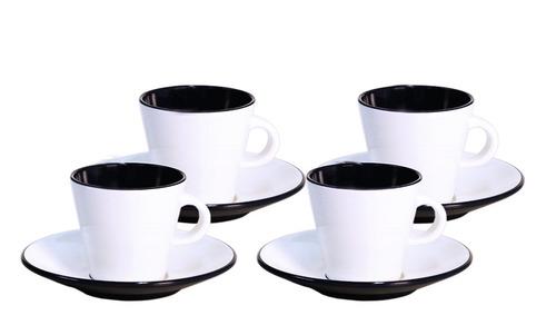 Melamine espresso cups set LINEA black for 2 persons, Gimex