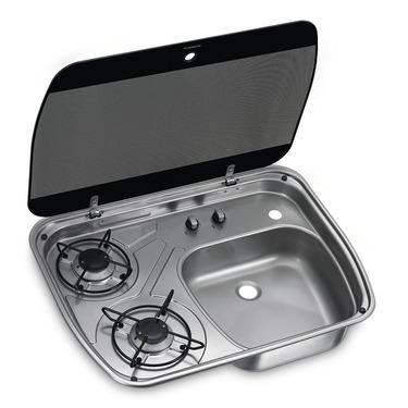 Spüle-Kocher Kombination mit Glasabdeckung Edelstahl 600x445 mm, HSG2445