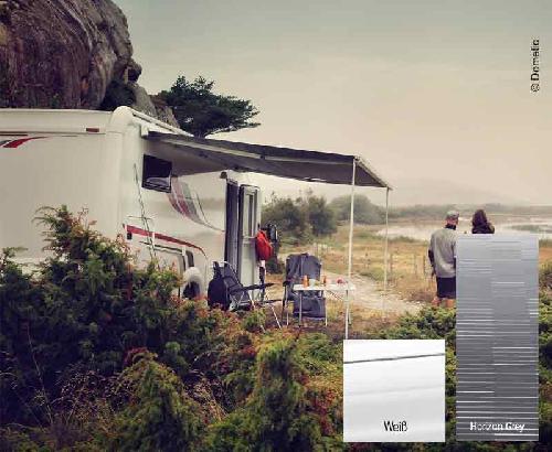 Markise PW1500 3.0m hus hvid / klud horisontegrå, 12V motor