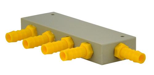 Vandfordelingsblok 4 udgange til 10 mm slange hvid gul