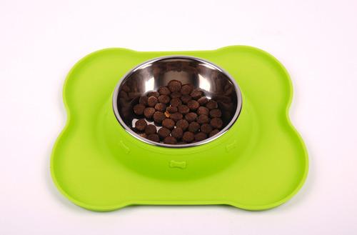 Rustfrit stål hundeskål FRIDA med silikone underlag