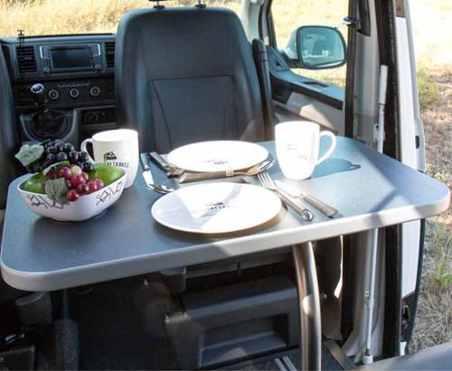 Tischanlage Luxus mit Schwenktischgestell, Dekor Anthrazit VW T6/5