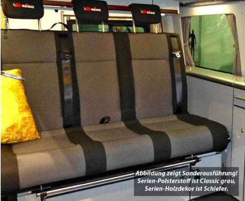 Schlafsitzbank VW T6/T5 Trio Style V3000 Gr.8 1155mm breit, 3-sitzig schmal, - V3000 Bank 8 T5/6 classic